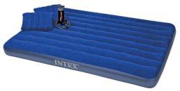Матрас синий Intex, 152 см х 203 см х 22 см + 2 подушки, ручной насос, №68765