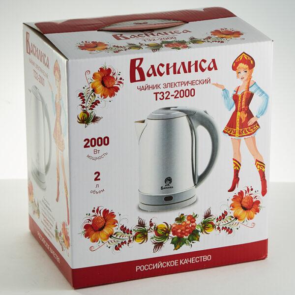 Чайник электрический 2 л 2000 Вт василиса Т32-2000, серый