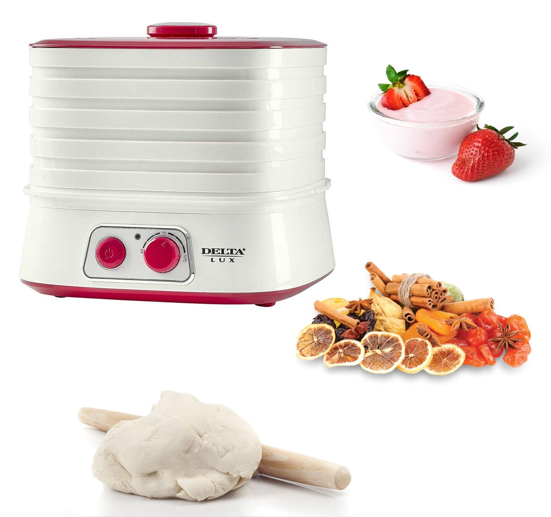 Сушилка для овощей и фруктов + йогуртница электрическая 250 Вт, 6 л, 5 секций DELTA LUX