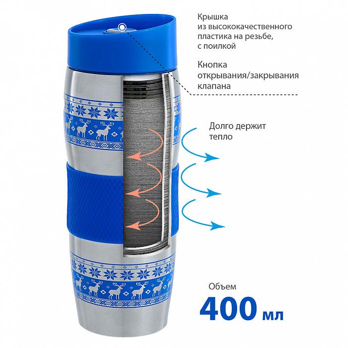 """Термокружка вакуумная 400 мл Alpenkok AK-04023A """"Олени синие"""""""