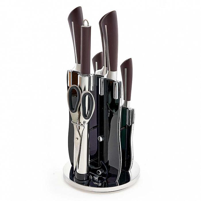Набор ножей на акриловой подставке 8 предметов Alpenkok AK-2091 + ПОДАРОК