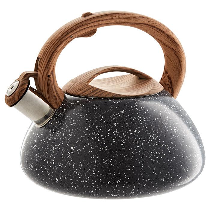 Чайник со свистком 3 л AK-514/1 серый гранит, ручка светлое дерево