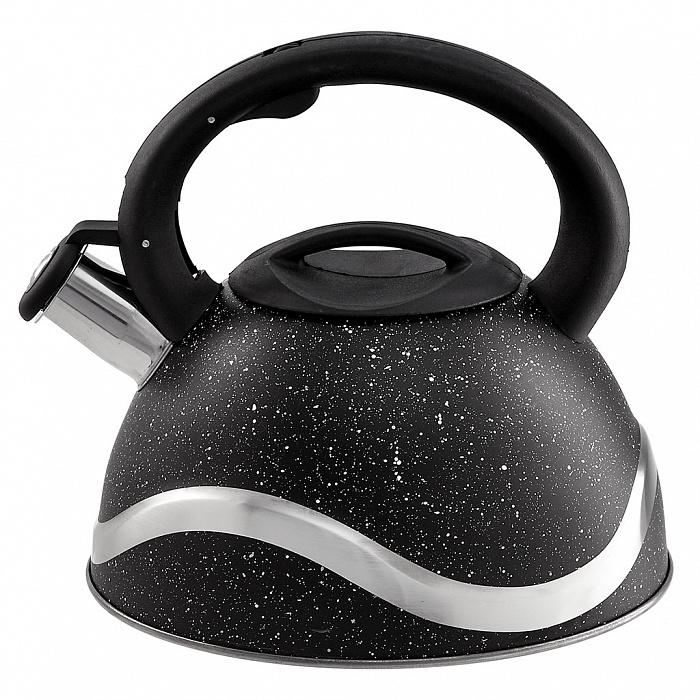Чайник со свистком 3 л BE-0574 черный мрамор