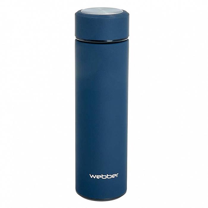 Термокружка 480 мл с ситечком для чая прорезиненная Webber BE-6050 синяя