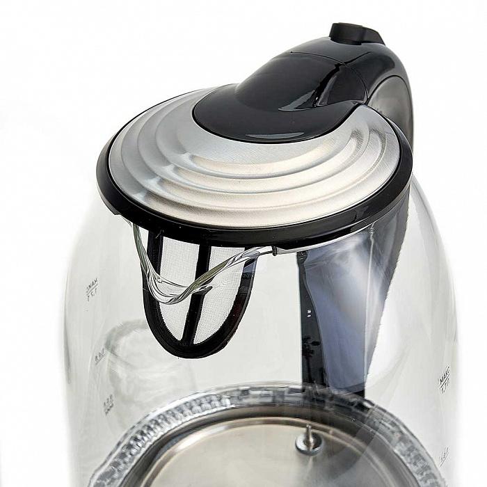Чайник электрический 2200 Вт, 1,7 л DELTA LUX DE-1002 черный, функция установки температур с LED-индикацией разными цветами, поддержание температуры