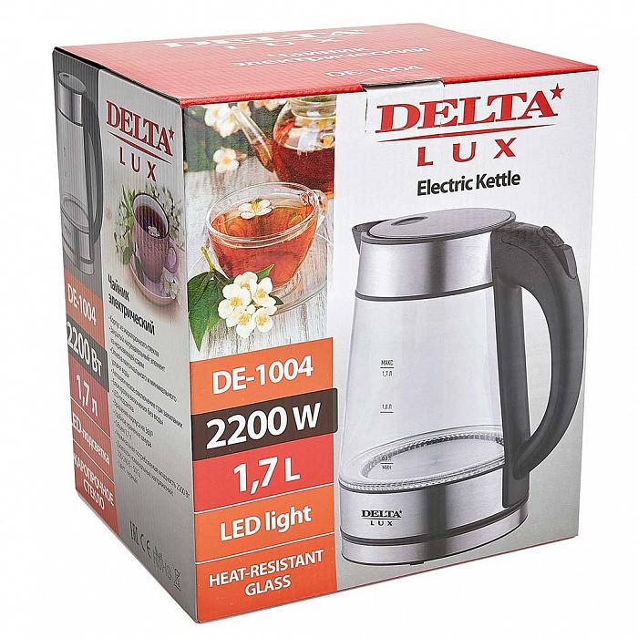 Чайник электрический 2200 Вт, 1,7 л DELTA LUX DE-1004 черный
