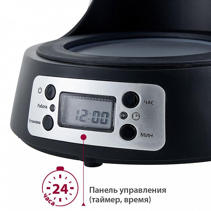Кофеварка 1000 Вт, 1500 мл DELTA LUX DE-2000 черная
