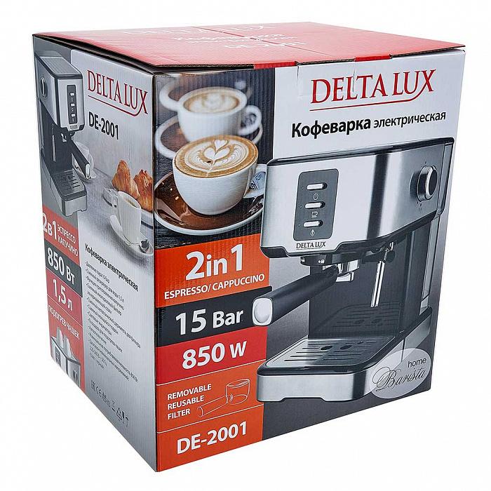 Кофеварка 850 Вт, 1,5 л, 15 бар DELTA LUX DE-2001 черная