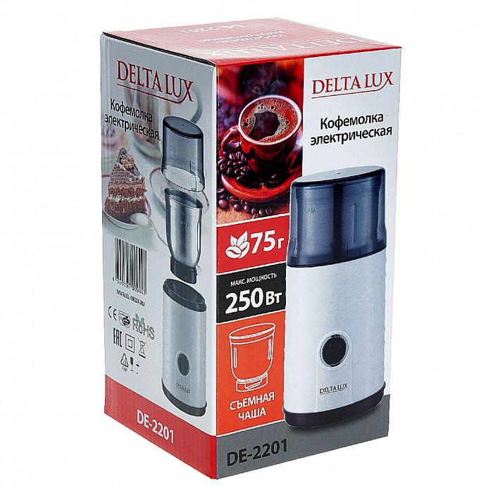 Кофемолка электрическая 250 Вт, 75 г DELTA LUX DE-2201 белая