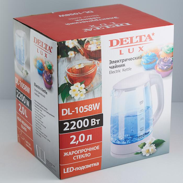 Чайник электрический 2200 Вт, 2 л DELTA LUX DL-1058W белый