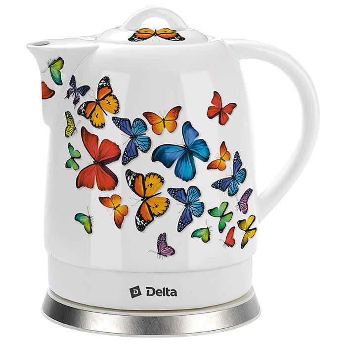 """Чайник электрический 1500 Вт 1,7 л DELTA DL-1233А """"Бабочки"""""""