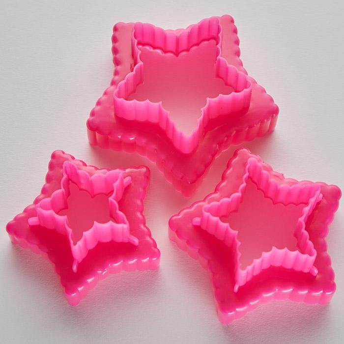 """Набор двусторонних пластиковых форм для печенья """"Звездочки"""" 3 размера BE-4309P/3"""