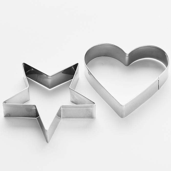 """Набор форм для печенья 2штуки """"Звезда"""" 7см, """"Сердце"""" 6см ВЕ-4332/2"""
