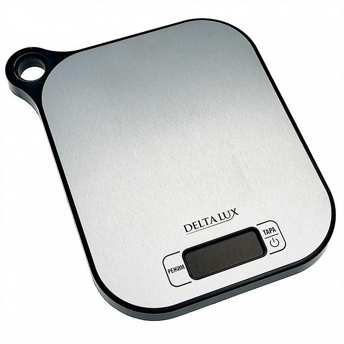 Весы электронные настольные 5 кг DELTA LUX DE-001KE нержавеющая сталь, с петелькой для подвешивания