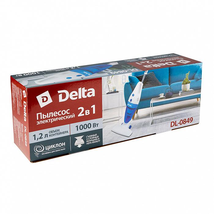 Пылесос 1000 Вт Циклон 2 в 1 DELTA DL-0849 белый с голубым