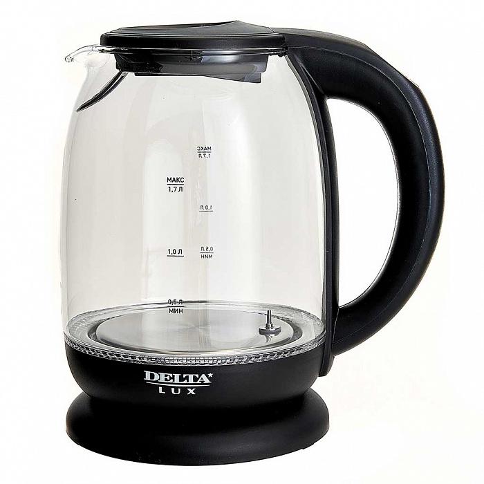 Чайник электрический 2200 Вт, 1,7 л DELTA LUX DE-1003 черный, функция установки температур с LED-индикацией разными цветами, поддержание температуры