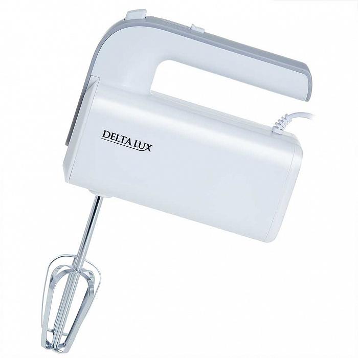 Миксер электрический 400 Вт DELTA LUX DE-7702 белый с серым