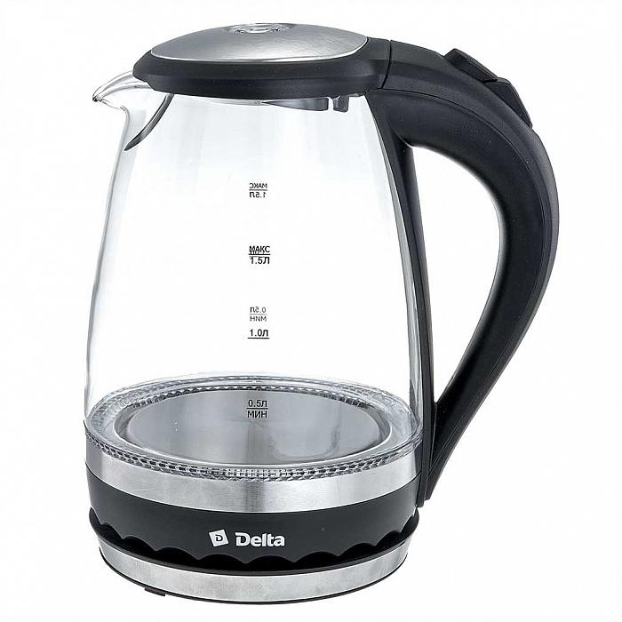 Чайник электрический 2200 Вт, 1,5 л DELTA DL-1202 черный