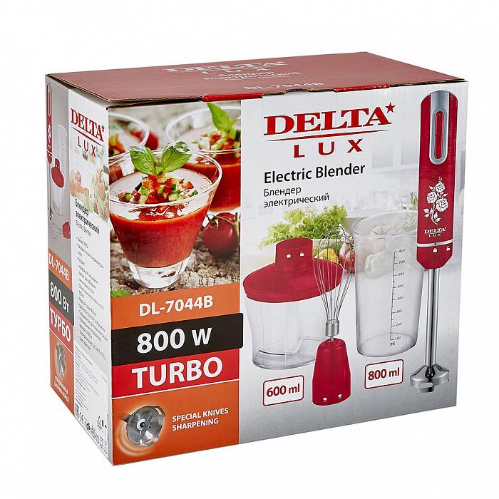 Блендер погружной DELTA  LUX DL-7044B с измельчителем, венчиком, стаканом, красный
