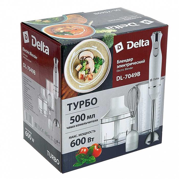 Блендер погружной 600 Вт DELTA DL-7049B с измельчителем, венчиком, стаканом, белый