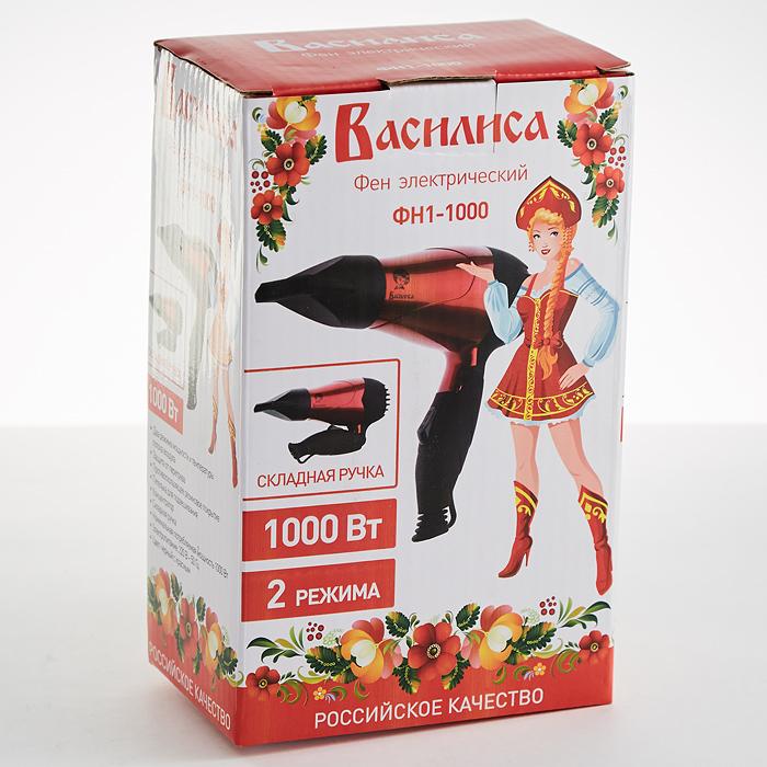 Фен 1000 Вт ВАСИЛИСА ФН1-1000 черный с красным
