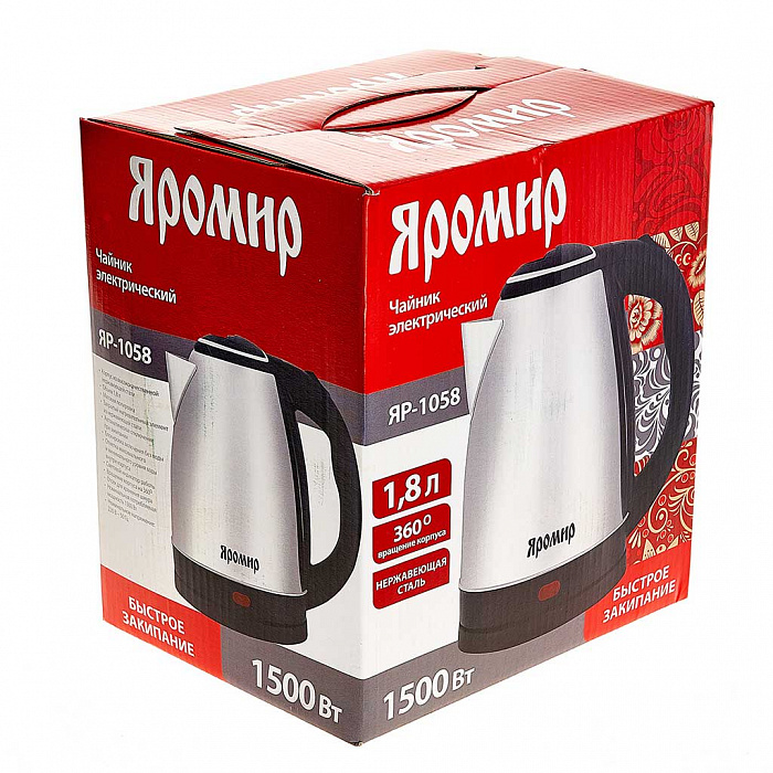 Чайник электрический 1500 Вт, 1,8 л ЯРОМИР ЯР-1058