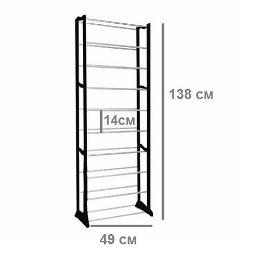 Этажерка для обуви, 10 полок, 138х49х16 см