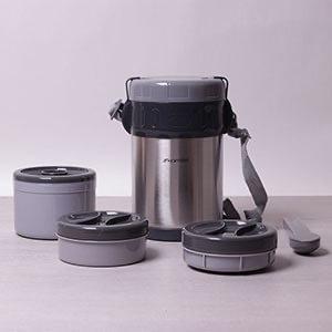Термос пищевой с 3 контейнерами, с ложкой и вилкой + ПОДАРОК