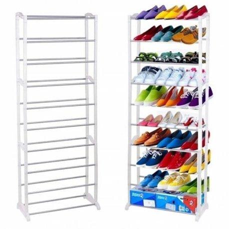 Этажерка для обуви, 10 полок, белая, 138х49х16 см, ASR-10W