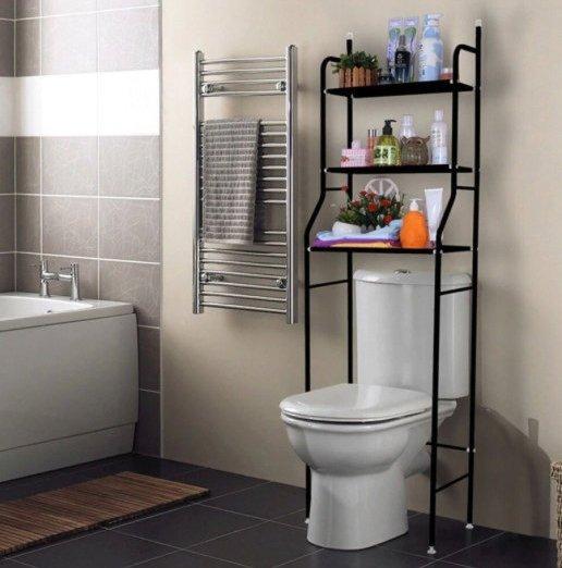 Стеллаж под туалет, 3 полки, черный, TM-010B
