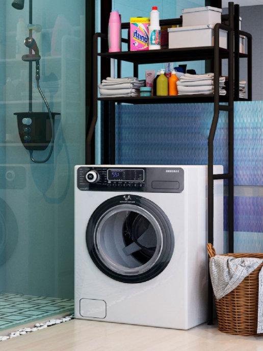 Стеллаж под стиральную машину, 2 полки, черный, TM-011B