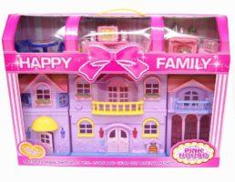 Розовый домик для кукол, мебель, свет, звук, 8121