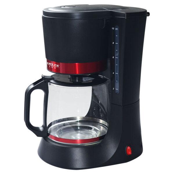 Кофеварка DELTA LUX DL-8152 черная с красным, 680 Вт, 1,25 л