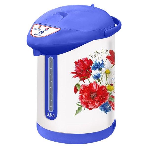 """Чайник-термос электрический ВАСИЛИСА ТП7-820 """"Полевые цветы"""" белый с голубым"""
